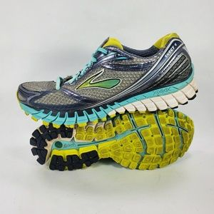 Brooks Ghost 6 Running Training Gray Blue Lime